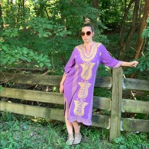 Vintage Dresses - Vintage 1970s Purple Gauze Embroidered Caftan